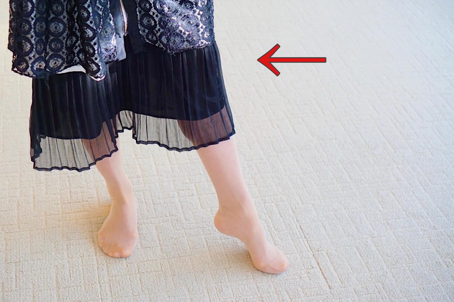 足指と膝を伸ばして一歩を出すイメージ